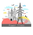 towers with power lines vector image vector image