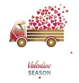 valentine day card with cute rabbit in a truck vector image vector image