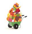 wheelbarrow exotic tropical fruits vegetarian vector image