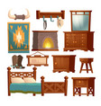 wooden furniture cowboy bedroom in rural house vector image
