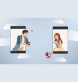 young happy couple use mobile phone vector image