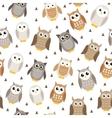 Cute cartoon owl seamless texture Owl pattern vector image