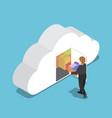 isometric businessman keep file in cloud shaped vector image