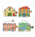 set of winter houses for christmas vector image