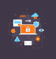 internet security flat icons set infographic vector image
