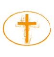 Orange grunge cross stamp symbol vector image