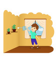a child watering a flower at home a child helps vector image vector image
