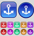 anchor Icon sign A set of twelve vintage buttons vector image