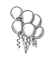 balloons bunch with curly ribbon monochrome vector image vector image