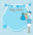 bashower card stork with newborn boy vector image vector image