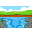 beauty river with landscape view background vector image vector image