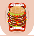 big hamburger mouth strong hunger great burger vector image vector image