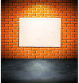 Blank poster on the brick wall vector image vector image