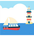 blue sea boat lighthouse cloud background i vector image