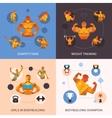 Bodybuilding Polygonal Set vector image vector image