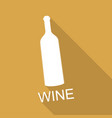 bottle of wine and a glass icon on long shadow vector image