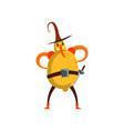 brave lemon cartoon character man in fruit vector image vector image