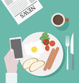 Business Breakfast with smartphone vector image