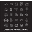calendar and planning editable line icons vector image
