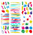 color collection ink strokes brush lines of vector image