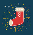 colored christmas sock icon in thin line style vector image vector image