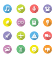 colorful simple flat icon set 5 on circle with lon vector image vector image