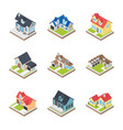 commercial buildings icons vector image vector image
