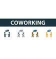 coworking icon set premium symbol in different vector image vector image