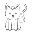 cute sketch draw cat cartoon vector image vector image
