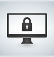 desktop computer and lock on screen computer vector image vector image