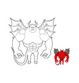 Devil coloring book Red demon with wings and horns vector image