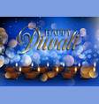 diwali lamp background with bokeh lights vector image vector image
