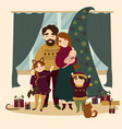 family at christmas standing near christmas tree vector image vector image