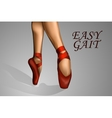 feet in red shoes ballerina vector image vector image
