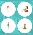 flat icon pregnant set of pregnancy pose lady vector image vector image