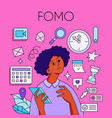fomo - fear of missing out concept young woman vector image vector image