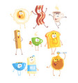 funny fast food set for label design breakfast vector image
