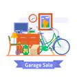garage sale household used goodsflat style vector image