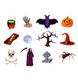 halloween set of cartoon icons vector image vector image