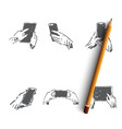 hands with gadgets - human hands holding vector image vector image