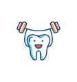 Healthy teeth line icon strong tooth holds the