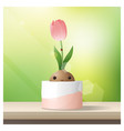 hello spring background with spring flower tulip vector image vector image