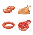 isolated object of meat and ham symbol collection vector image