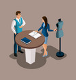 isometric bank manager proposes to use the service vector image