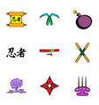 japanese ninja icons set cartoon style vector image vector image
