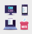 laptop with set objects for vote vector image vector image