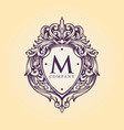 luxury badge logo monogram flourish decorative vector image vector image