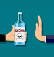 man is holding a bottle of alcohol in his hand vector image vector image