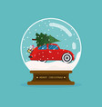 Merry christmas glass ball with car and christmas