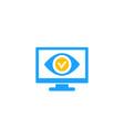 monitoring icon eye on screen vector image vector image